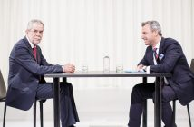 epa05308517 Austrian right wing Freedom Party (FPOe) top candidate Norbert Hofer (R) and top candidate Alexander Van der Bellen, supported by The Greens, speak ahead of a television debate in Vienna, Austria, 15 May, 2016. The presidential run-off vote will take place on 22 May 2016.  EPA/LISI NIESNER