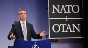 epa05314541 Jens Stoltenberg, NATO Secretary General addresses a press conference at the NATO headquarter in Brussels, Belgium, 18 May 2016.  EPA/LAURENT DUBRULE