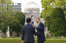 epa05331613 US Presdent Barack Obama (R) bids a farewell to Japanese Prime Minister Shinzo Abe after laying a wreath in front of a cenotaph to offer prayers for victims of the atomic bombing in 1945 at Hiroshima Peace Memorial Park with viewing the Atomic Bomb Dome (Rear) in Hiroshima, western Japan, 27 May 2016. Obama visited Hiroshima for the first time as US President after the atomic bombing of Hiroshima City. Obama visited the city after attending the two-day G7 Ise-Shima Summit talk.  EPA/KIMIMASA MAYAMA / POOL