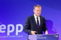 epa05337858 European Council President Donald Tusk delivers a speech during the (EPP) European People's Party's 40th anniversary at the European Convention Center in Luxembourg, 30 May 2016.  EPA/CUGNOT MATHIEU