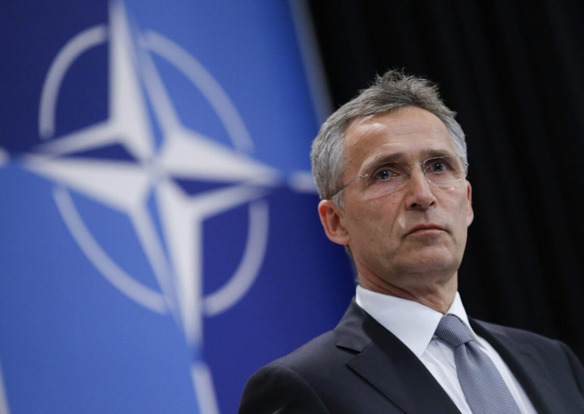 epa05361460 NATO Secretary General Jens Stoltenberg speaks during a press conference, a day ahead of the Meetings of NATO Ministers of Defence in Brussels, Belgium, 13 June 2016. EPA/OLIVIER HOSLET