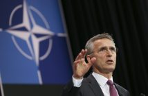 epa05366372 NATO Secretary General Jens Stoltenberg speaks at a news conference marking the end of a Nato Defense Ministers Council meeting at the North Atlantic Treaty Organization (NATO) headquarters in Brussels, Belgium, 15 June 20106. The two-days meeting is held in preperation to the NATO Warsaw Summit on 08/09 July.  EPA/OLIVIER HOSLET