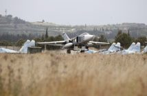 epa05289966 Russian Su-24 bomber takes off from Hmeimym airbase in Latakia province , Syria, 04 May 2016. Hmeimym airbase serves as the base of operation for the Russian air force in Syria. The United States and Russia have agreed to extend the cease-fire in Syria to the city of Aleppo, the US State Department reported on 04 May.  EPA/SERGEI CHIRIKOV