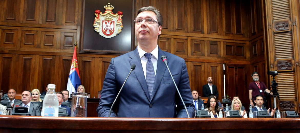 """epa05467832 Serbian Prime Minister designate Aleksandar Vucic addresses the parliament in Belgrade, Serbia, 09 August 2016. Starting the presentation of his keynote address (""""exposé""""), Vucic spoke about the changes that have taken place over the past years, and then focused on the economy and the building of Serbia's credibility in the region and in the world, Tanjug has reported.  EPA/KOCA SULEJMANOVIC"""