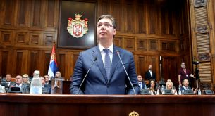 "epa05467832 Serbian Prime Minister designate Aleksandar Vucic addresses the parliament in Belgrade, Serbia, 09 August 2016. Starting the presentation of his keynote address (""exposé""), Vucic spoke about the changes that have taken place over the past years, and then focused on the economy and the building of Serbia's credibility in the region and in the world, Tanjug has reported.  EPA/KOCA SULEJMANOVIC"