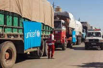 epa05548475 A handout picture made available on the website of Syrian Red Crescent  showing an aid convoy of 31 trucks preparing to set off to deliver aid to the western rural side of Aleppo, Syria, 19 September 2016. Reports state that Syrian Red Crescent trucks were bombed after a routine delivery of supplies to the beleaguered city of Aleppo in which more than 10 people were killed in the attack, a Red Cross Official has said.  EPA/SYRIAN RED CRESENT / HANDOUT  HANDOUT EDITORIAL USE ONLY/NO SALES