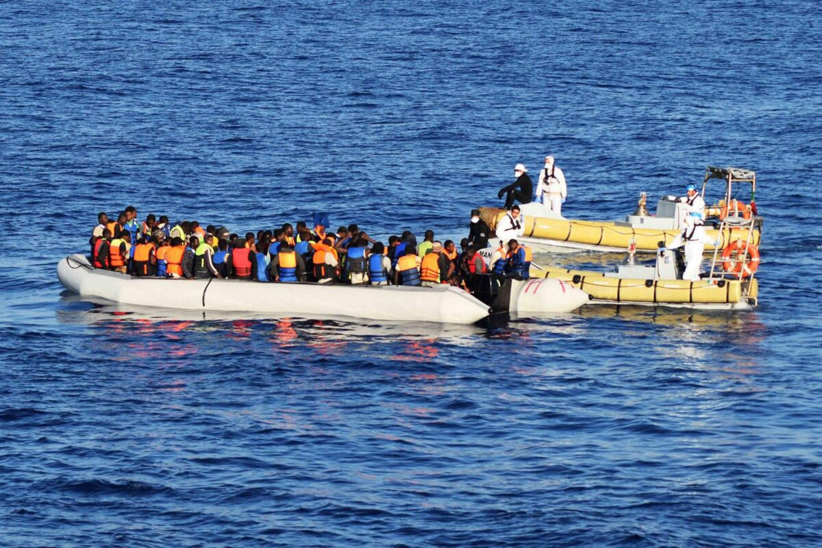epa05515135 A handout photograph released on 30 August 2016 by the Italian Navy showing migrants on a boat during rescue operations in the Mediterranean Sea, off the Libyan coast. Italian Navy ships Fasan, Sfinge, and Cigala Fulgosi rescued on 29 August almost 2500 migrants. Over 6000 migrants, mostly from Eritrea and Somalia, were rescued off the coast of Libya in the Mediterranean Sea. The joint operation involved several Italian and International agencies. EPA/MARINA MILITARE / HANDOUT HANDOUT EDITORIAL USE ONLY/NO SALES/NO ARCHIVES