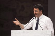 epa05597033 A handout photo provided by the Italian Chigi Palace Press Office shows Italian Prime Minister Matteo Renzi delivering a speech at St. Cecilia's theater in Palermo, Italy, 21 October 2016.  EPA/TIBERIO BARCHIELLI / CHIGI PALACE PRESS OFFICE / HANDOUT  HANDOUT EDITORIAL USE ONLY/NO SALES