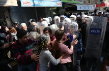 epa05603917 Turkish riot police disperse protestors during a demonstration against arrests of Co-Presidents of Diyarbakir Metropolitan Municipality Gultan Kisanak and Firat Anli, in Diyarbakir, Turkey on 26 October 2016. According to media reports on 26 October 2016, Kisanak and Anli were arrested as part of an investigation in activities of the Kurdistan Workers' Party (PKK).  EPA/STR