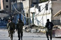 epa05650139 A handout picture made available by the official Syrian Arab News Agency (SANA) shows Syrian soldiers crossing rubble in Aleppo's eastern Masaken Hanano area in Aleppo province, Syria, 27 November 2016. According to SANA a military source announced on 27 November 2016 that the army units in cooperation with the supporting forces established full control over Jabal Badro neighborhood and Masaken Hanano area in Aleppo .  EPA/SANA HANDOUT  HANDOUT EDITORIAL USE ONLY/NO SALES