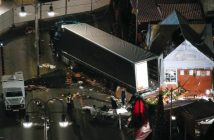 A general view shows the site where the truck plowed through a crowd at a Christmas market. REUTERS/Pawel Kopczynski