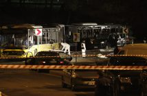 epa05670032 Crime scene investigators work at the scene of an explosion around Vodafone Arena Stadium in Istanbul, Turkey, 10 December 2016. At least 13 people were killed in what the Interior Ministry called a car bomb attack after two explosions were heard outside Besiktas Stadium a few hours after the night's soccer match.  EPA/CEM TURKEL