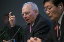 epa05574741 German Finance Minister Wolfgang Schauble (L) and Chinese Finance Minister Lou Jiwei (R) participate in the press conference on the G20 Finance Ministers and Central Bank Governors Meeting at the International Monetary Fund (IMF) headquarters in Washington, DC, USA, 07 October 2016. The 2016 Annual meetings of the International Monetary Fund and World Bank Group take place between 07 and 09 October.  EPA/SHAWN THEW