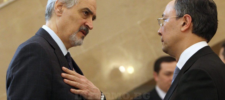 Башар Ал-Джафари лидер на Сирийската рпавителствена делегация и Кайрат Абдаркхаманов външен министър на Казакстан, снимка: EPA/IGOR KOVALENKO
