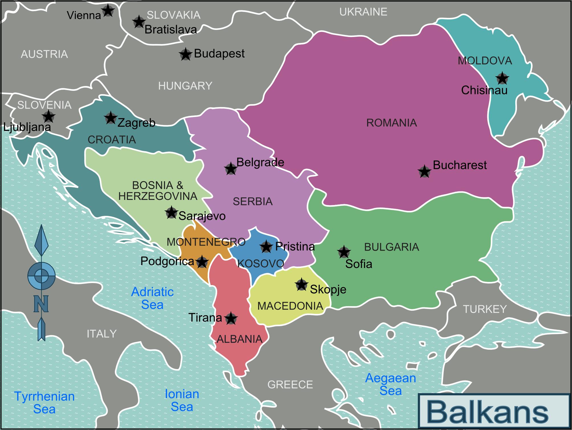 Балканите, карта