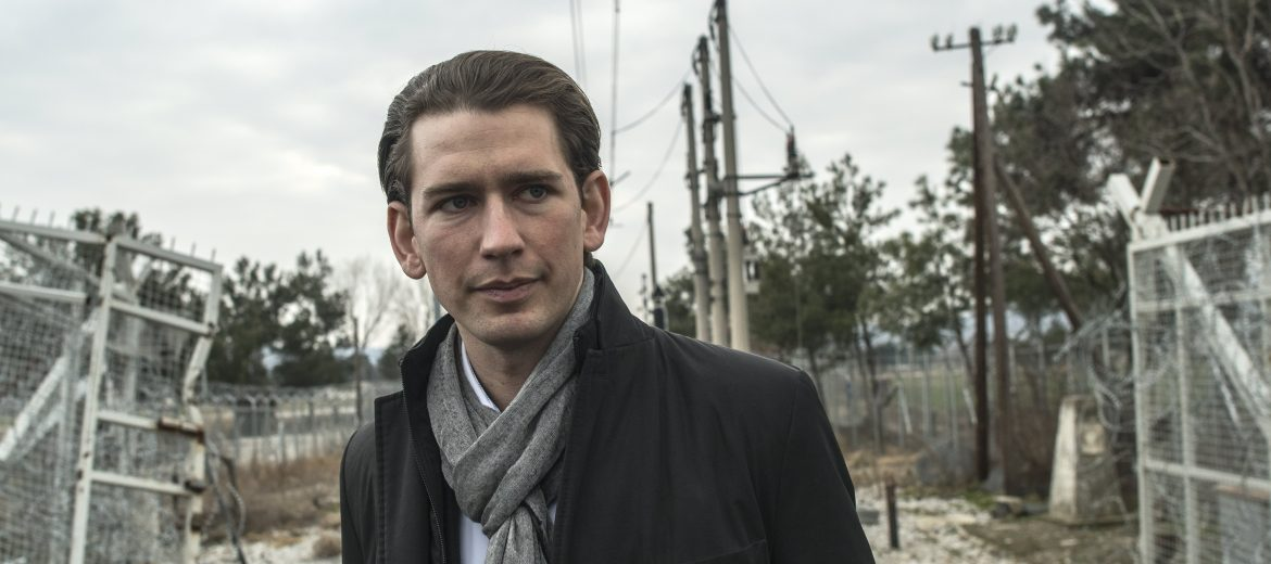 epa05788008 Austrian Foreign Minster Sebastian Kurz walks next to the fence on the border between Macedonia and Greece, near the southern city of Gevgelija, The Former Yugoslav Republic of Macedonia, 12 February 2017. Visit of Kurz follows a decision of ministers of 15 European countries in Vienna last week, when they agreed until April to prepare new plans and measures that will be presented in April and May on 'Balkan route' (migration route from Greece to the EU, which leads through Macedonia) remains closed.  EPA/GEORGI LICOVSKI