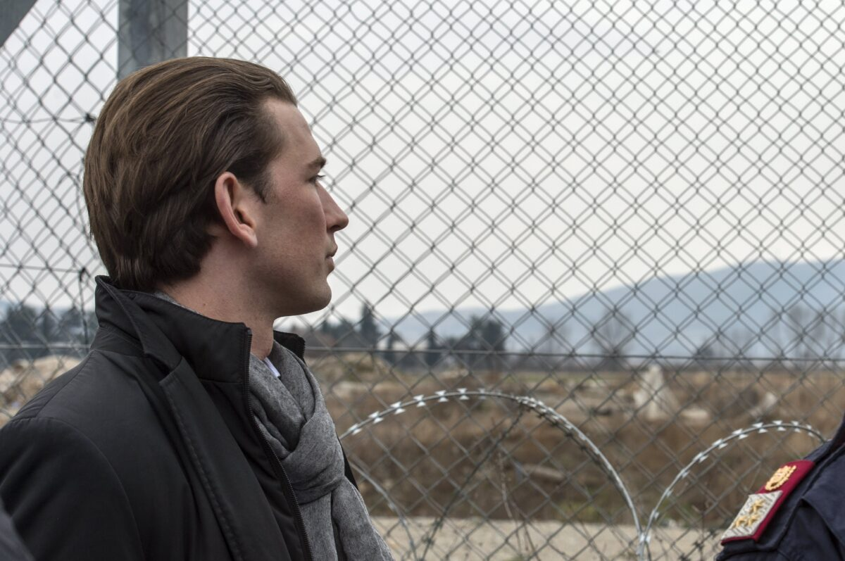 epa05788013 Austrian Foreign Minster Sebastian Kurz looks though the fence on the border between Macedonia and Greece, near the southern city of Gevgelija, The Former Yugoslav Republic of Macedonia, 12 February 2017. Visit of Kurz follows a decision of ministers of 15 European countries in Vienna last week, when they agreed until April to prepare new plans and measures that will be presented in April and May on 'Balkan route' (migration route from Greece to the EU, which leads through Macedonia) remains closed.  EPA/GEORGI LICOVSKI