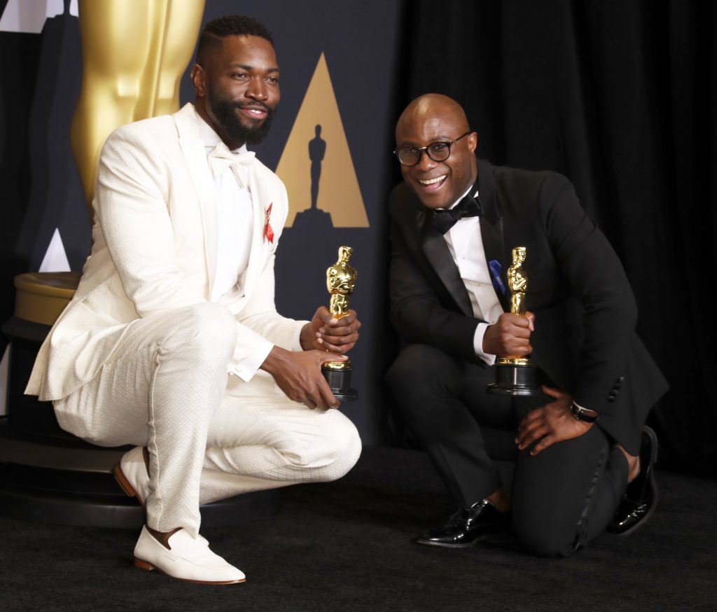 epa05818051 Barry Jenkins (R) and Tarell Alvin McCraney hold the Oscar for Best Adapted Screenplay for 'Moonlight' in the press room during the 89th annual Academy Awards ceremony at the Dolby Theatre in Hollywood, California, USA, 26 February 2017.  The Oscars are presented for outstanding individual or collective efforts in 24 categories in filmmaking.  EPA/PAUL BUCK