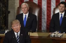 epa05821937 US President Donald J. Trump (Front) delivers his first address to a joint session of Congress from the floor of the House of Representatives in Washington, DC, USA, 28 February 2017. Traditionally the first address to a joint session of Congress by a newly-elected president is not referred to as a State of the Union. Speaker of the House Paul Ryan (R) and US Vice President Mike Pence (C) look on.  EPA/PETE MAROVICH