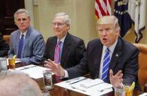 epa05823433 US President Donald J. Trump (R) has lunch with Congressional republican leaders, including Senate Majority Leader Mitch McConnell (C) and House Majority Leader Kevin McCarthy (L) in the Roosevelt Room of the White House in Washington, DC, USA, 01 March 2017.  EPA/ERIK S. LESSER