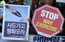 epa05845211 South Korean protesters hold placards, reading 'Stop War Exercises' and 'Start Peace Talks', during a rally against South Korean and US military forces joint 'Key-Resolve/Foal Eagle' exercises, near the US embassy in Seoul, South Korea, 13 March 2017. South Korean and US military Combined Forces Command hold the annual Key Resolve exercises from 13 to 24 March. Around 10,000 soldiers of the US and 290,000 of South Korea are participating in the Foal Eagle exercises, from 01 March to 01 May.  EPA/JEON HEON-KYUN