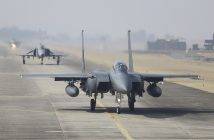 epa05845269 South Korean fighter jets, including F-15Ks and KF-16s, taxi at an air base in the city of Cheongju, central South Korea, 13 March 2017, as the South Korean Air Force conducts a weeklong air combat exercise to practice their readiness against possible provocations from North Korea and their counterattack operations. The Soaring Eagle exercise, which runs through 17 March, is designed to hone the Air Force's capabilities to shoot down enemy missiles and strike its core military facilities, it said.  EPA/YONHAP SOUTH KOREA OUT