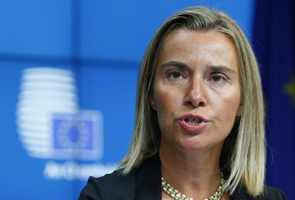 Newly elected European High Representative for Foreign Affairs Federica Mogherini of Italy attends a news conference during an EU summit in Brussels August 30, 2014. European Union leaders chose Polish Prime Minister Donald Tusk as the new president of their Council on Saturday and Italian Foreign Minister Mogherini as the bloc's new foreign policy chief, outgoing European Council President Herman Van Rompuy said. REUTERS/Yves Herman (BELGIUMPOLITICS - Tags: POLITICS HEADSHOT) - RTR44CZD