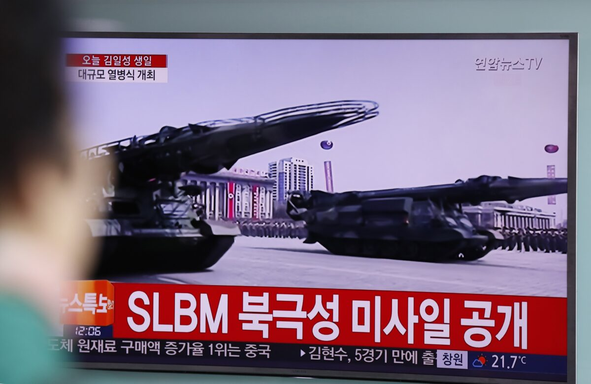epa05908531 A South Korean watches a North Korean special news report of a parade to mark the 105th anniversary of the birth of North Korea's founder Kim Il-Sung at the station in Seoul, South Korea, 15 April 2017. North Koreans celebrate the 'Day of the Sun' festival commemorating the 105th birthday anniversary of former supreme leader Kim Il-sung on 15 April as tensions over nuclear issues rise in the region. EPA/JEON HEON-KYUN