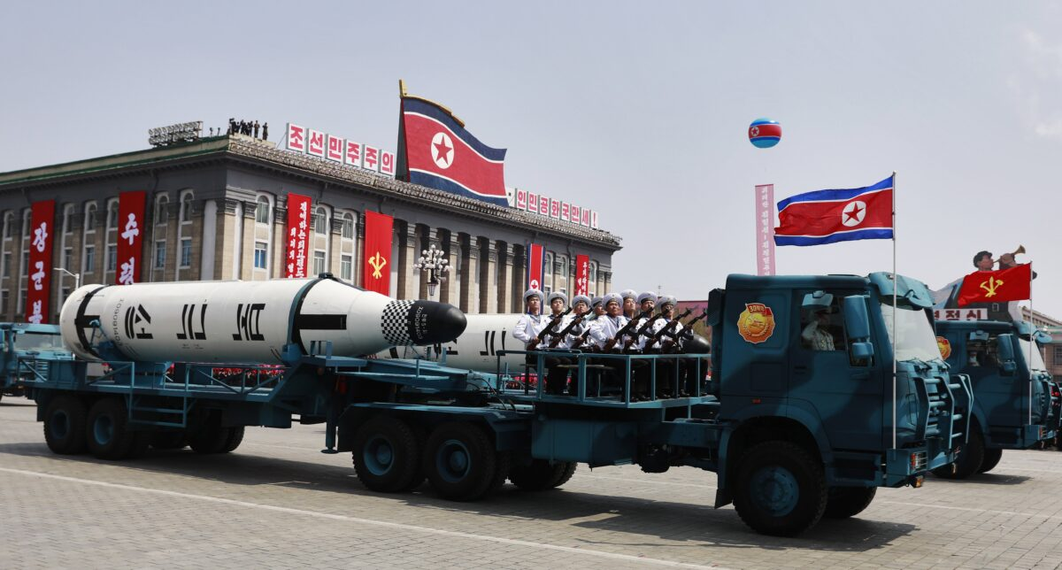 epa05908670 North Korean military vehicles carrying missiles drive past during a parade for the 'Day of the Sun' festival on Kim Il Sung Square in Pyongyang, North Korea, 15 April 2017. North Koreans celebrate the 'Day of the Sun' festival commemorating the 105th birthday anniversary of former supreme leader Kim Il-sung on 15 April as tension over nuclear issues rise in the region. EPA/HOW HWEE YOUNG