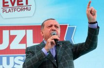 epa05908907 A handout photo made available by the Turkish President Press office shows, Turkish President Recep Tayyip Erdogan speaks during a 'Vote Yes' rally in Istanbul, Turkey, 15 April 2017. A referendum on the constitutional reform in Turkey will be held on 16 April. The reform, passed by Turkish parliament on 21 January, would change the country's parliamentarian system of governance into a presidential one, which the opposition denounced as giving more power to Turkish president Recep Tayyip Erdogan.  EPA/TURKISH PRESIDENT PRESS OFFICE HANDOUT  HANDOUT EDITORIAL USE ONLY/NO SALES
