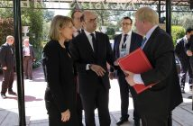 epa05901226 Italian Minister of Foreign Affairs Angelino Alfano (C) meets Secretary of State for Foreign and Commonwealth Affairs Boris Johnson (R) during a bilateral meeting at the 'Hotel Augustus' in Forte di Marmi (Lucca), 10 April 2017. Others are not identified. Both will later attend a meeting of foreign ministers and representatives of the G7 countries in the Italian city of Lucca to discuss the situation in Syria and ways to counter the so-called 'Islamic State' (IS) terror group.  EPA/RICCARDO DALLE LUCHE