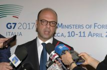 epa05902468 Italian Foreign Minister Angelino Alfano speaks to members of the media prior to the start of the Meeting of Foreign Ministers and representatives of the G7 countries in Lucca, Italy, 11 April 2017. The G7 Ministers of Foreign Affairs are meeting in Lucca on 10 and 11 April as they attempt to agree a common position on the Syrian conflict.  EPA/RICCARDO DALLE LUCHE / POOL