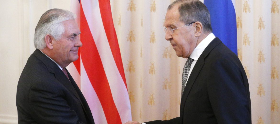 epa05903793 Russian Foreign Minister Sergei Lavrov (R) shakes hands with  US Secretary of State Rex Tillerson (L) during their meeting  in the Russian Foreign Ministry guest house in Moscow, Russia, 12 April 2017. Tillerson is in Moscow, meeting with Russian Foreign Minister Sergei Lavrov and other Russian officials to discuss Ukraine, counterterrorism efforts, bilateral relations and other issues, including the North Korea (D.P.R.K.) and Syria.  EPA/SERGEI CHIRIKOV