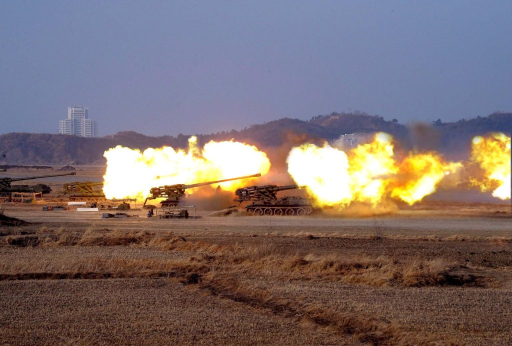 epa05926191 (FILE) - An undated file photograph released by the Korean Central News Agency (KCNA) on 12 February 2009 shows the Korean military Unit No. 681 under the KPA Artillery Command during a firing exercise watched by the Supreme Commander of the Korean People's Army Kim Jong Il (not pictured) (reissued 25 April 2017). According to media reports on 25 April 2017, North Korea performed their largest long-range artillery firing drill, to mark the 85th anniversary of the North Korean Army.  EPA/KCNA   EDITORIAL USE ONLY