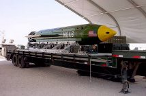 "The GBU-43/B Massive Ordnance Air Blast bomb sits at an air base in Southwest Asia waiting to be used should it become necessary. The MOAB is also called ""The Mother of all Bombs"" by scientists and the community alike. (Courtesy photo)"