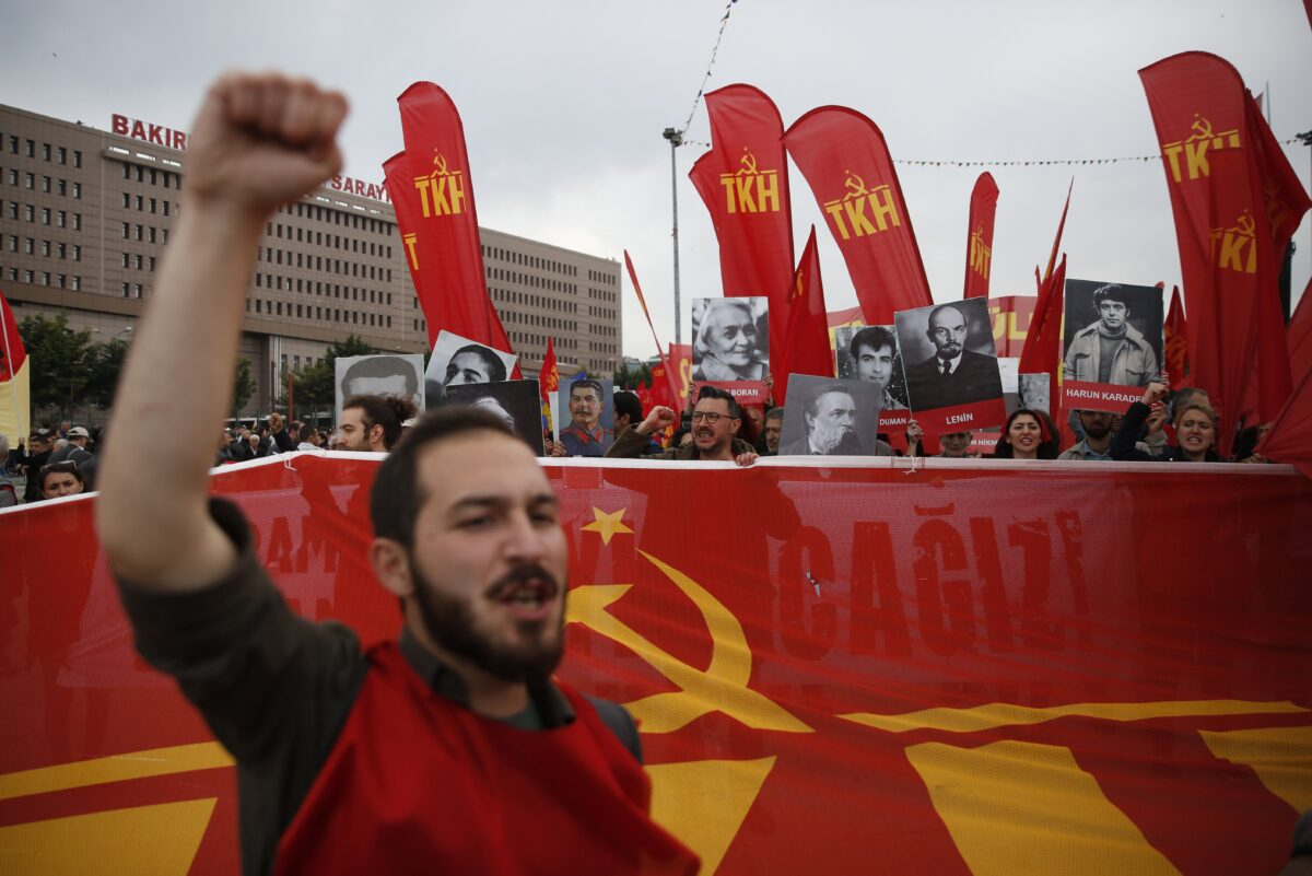 epa05938789 People shout slogans during a May Day demonstration in Istanbul, Turkey 01 May 2017. Labor Day or May Day is observed all over the world on the first day of the May to celebrate the economic and social achievements of workers and fight for laborers rights. EPA/DENIZ TOPRAK