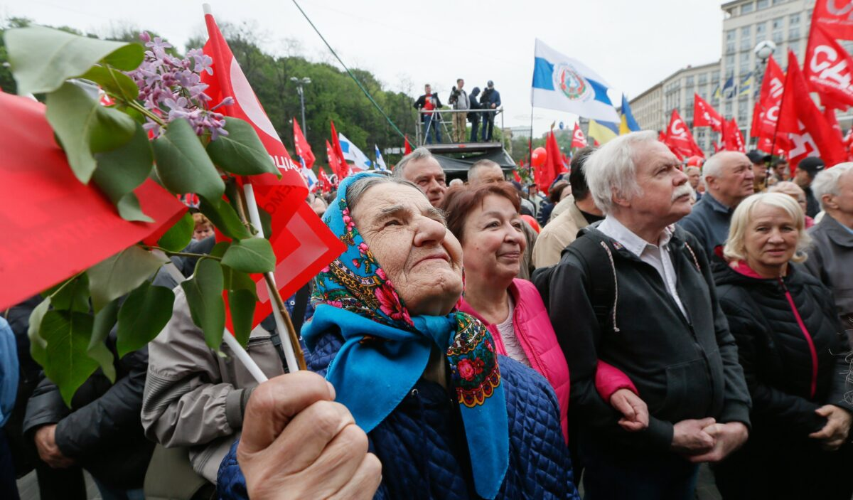 epa05938592 Supporters of the Ukrainian Socialist and different left-wing parties attend a rally to mark International Labour Day in the center of Kiev, Ukraine, 01 May 2017. Labour Day or May Day is observed all over the world on the first day of May to celebrate the economic and social achievements of workers and fight for labourers rights. EPA/SERGEY DOLZHENKO