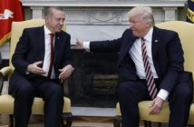 Turkey's President Recep Tayyip Erdogan (L) meets with U.S President Donald Trump in the Oval Office of the White House in Washington, U.S. May 16, 2017. REUTERS/Kevin Lamarque