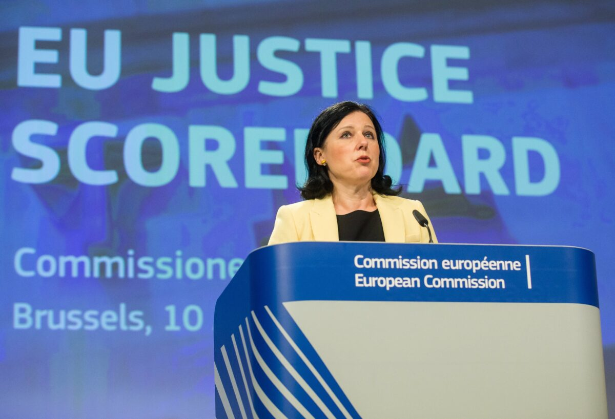 epa05900884 European Commissioner for Justice, Consumers and Gender Equality Vera Jourova presents the 2017 Justice scoreboard during a press conference at the European Commission in Brussels, Belgium, 10 April 2017. The EU Justice Scoreboard according to the European Commission website's explanation is 'an information tool aiming to assist the EU and Member States to achieve more effective justice by providing objective, reliable and comparable data on the quality, independence and efficiency of justice systems in all Member States'.  EPA/STEPHANIE LECOCQ