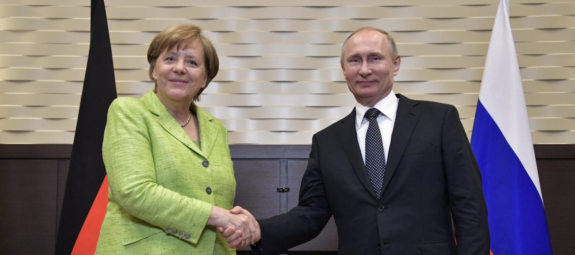 epa05940441 Russian President Vladimir Putin (R) and German Chancellor Angela Merkel (L) shake hands during their meeting at the Bocharov Ruchei residence in the Black sea resort of Sochi, Russia, 02 May 2017. The leaders are expected to discuss prospects of bilateral relations, and also Ukrainian crisis settlement and situation in Syria.  EPA/ALEXEY NIKOLSKY / SPUTNIK / KREMLIN POOL MANDATORY CREDIT