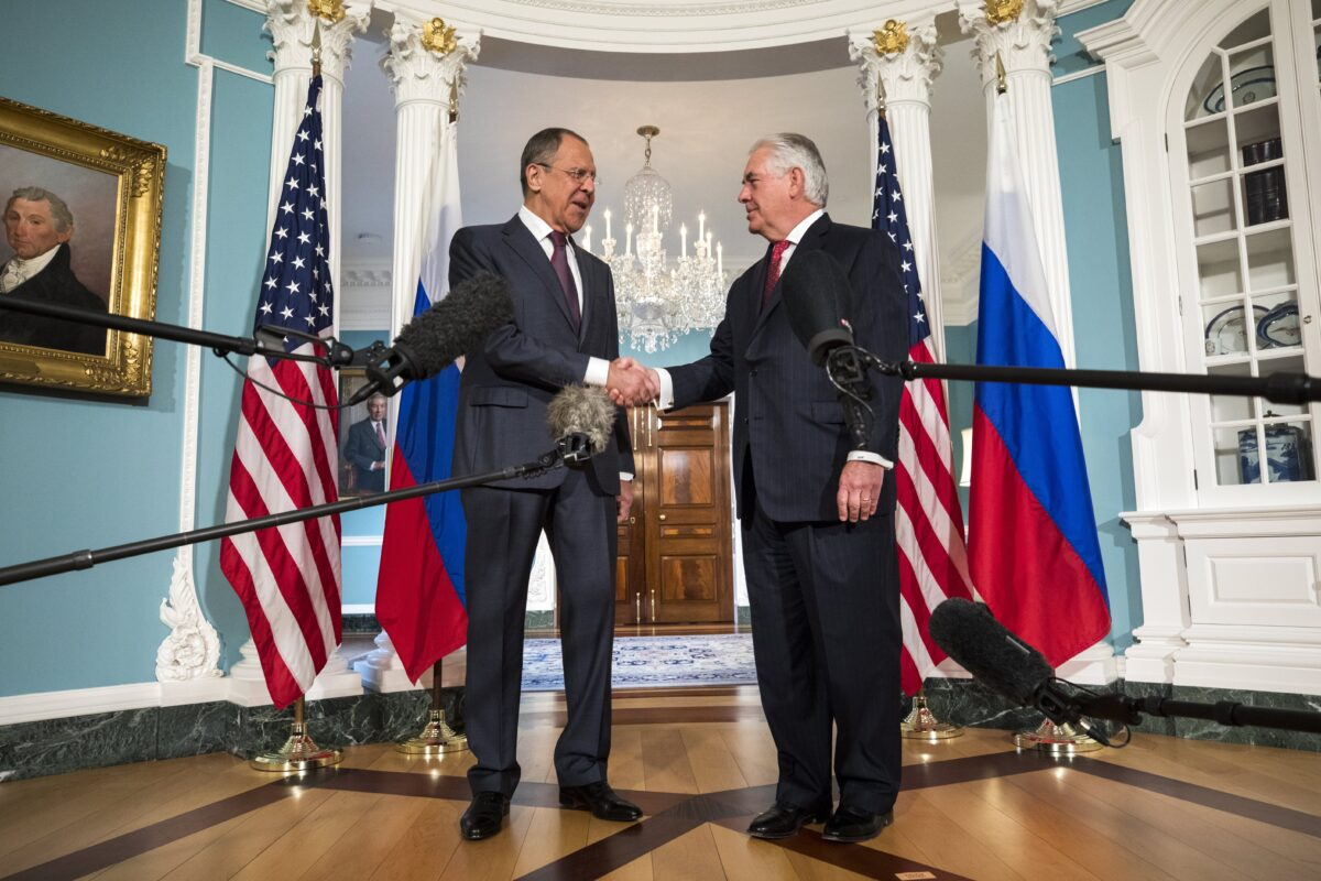 epa05954785 U.S. Secretary of State Rex Tillerson (R) greets Russian Foreign Minister Sergey Lavrov (L) at the State Department in Washington, DC, USA, 10 May 2017. Lavrov is also scheduled to meet with U.S. President Donald J. Trump at the White House later in the day.  EPA/JIM LO SCALZO