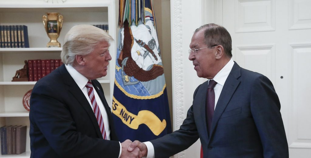epa05955487 A handout photo made available by the Russian Foreign Ministry shows US President Donald J. Trump (L) shaking hands with Russian Foreign Minister Sergei Lavrov (R) during their meeting in the White House in Washington, DC, USA, 10 May 2017 EPA/RUSSIAN FOREIGN MINISTRY HANDOUT BEST QUALITY AVAILABLE HANDOUT EDITORIAL USE ONLY/NO SALES