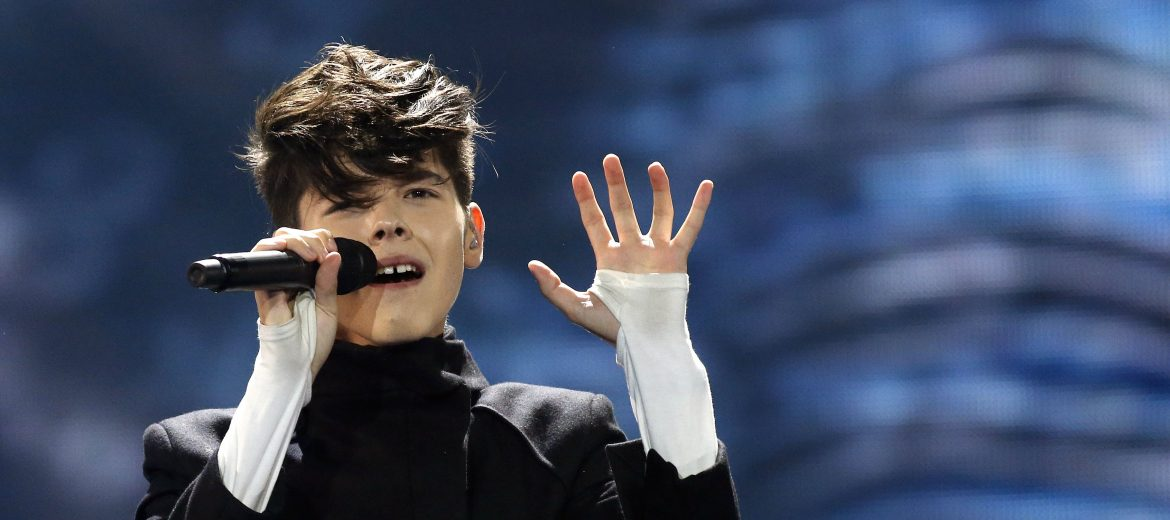 epa05959639 Kristian Kostov from Bulgaria performs the song 'Beautiful Mess' during rehearsals for the Grand Final of the 62nd annual Eurovision Song Contest (ESC) at the International Exhibition Centre in Kiev, Ukraine, 12 May 2017. The ESC 2017 Grand Final is held on 13 May.  EPA/TATYANA ZENKOVICH