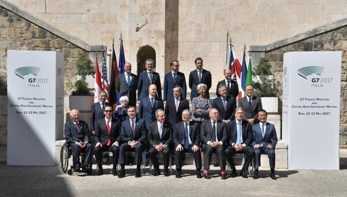 epa05960762 G7 Finance Ministers and Central Bank Governors meeting attendees pose for a group photo during the G7 Ministerial Meeting of Finance in Bari, Italy, 13 May 2017; (First row, top, L-R) OECD Secretary General, Angel Gurria, Governor of the Bank of France, Francois Villeroy de Galhau, Central Bank of the United Kingdom Governor, Mark Carney, President of the Deutsche Bundesbank, Jens Weidmann, President of the Euro Group, Jeroen Dijsselbloem, (second row, L-R) Haruiko Kuroda, Governor of the Central Bank of Japan, US Federal Reserve Chair Janet Yellen, European commissioner of Economic and Financial Affairs, Pierre Moscovici, President of the European Central Bank (ECB), Mario Draghi, Managing Director of the International Monetary Fund (IMF), Christine Lagarde, Bank of Canada Governor, Stephen Shawn Poloz, World Bank President Jim Yong Kim, (third row, bottom, L-R) German Finance Minister Wolfgang Schauble, Secretary US Treasury Steven Mnuchin, Canadian Finance Minister, William Morneau, Italian Economy Minister, Pier Carlo Padoan, Bank of Italy Governor Ignazio Visco, French Minister for Economy and Finance, Michel Sapin, Minister of Finance of the United Kingdom, Philip Hammond, and Japan's Finance Minister, Taro Aso. The G7 Finance Ministers and Central Bank Governors meeting is taking place in Bari from 11 to 13 May 2017.  EPA/CIRO FUSCO
