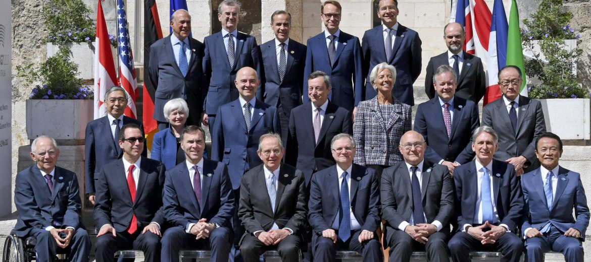 epa05960900 G7 Finance Ministers and Central Bank Governors meeting attendees pose for a group photo during the G7 Ministerial Meeting of Finance in Bari, Italy, 13 May 2017; (First row, top, L-R) OECD Secretary General, Angel Gurria, Governor of the Bank of France, Francois Villeroy de Galhau, Central Bank of the United Kingdom Governor, Mark Carney, President of the Deutsche Bundesbank, Jens Weidmann, President of the Euro Group, Jeroen Dijsselbloem, (second row, L-R) Haruiko Kuroda, Governor of the Central Bank of Japan, US Federal Reserve Chair Janet Yellen, European commissioner of Economic and Financial Affairs, Pierre Moscovici, President of the European Central Bank (ECB), Mario Draghi, Managing Director of the International Monetary Fund (IMF), Christine Lagarde, Bank of Canada Governor, Stephen Shawn Poloz, World Bank President Jim Yong Kim, (third row, bottom, L-R) German Finance Minister Wolfgang Schauble, Secretary US Treasury Steven Mnuchin, Canadian Finance Minister, William Morneau, Italian Economy Minister, Pier Carlo Padoan, Bank of Italy Governor Ignazio Visco, French Minister for Economy and Finance, Michel Sapin, Minister of Finance of the United Kingdom, Philip Hammond, and Japan's Finance Minister, Taro Aso. The G7 Finance Ministers and Central Bank Governors meeting is taking place in Bari from 11 to 13 May 2017.  EPA/CIRO FUSCO