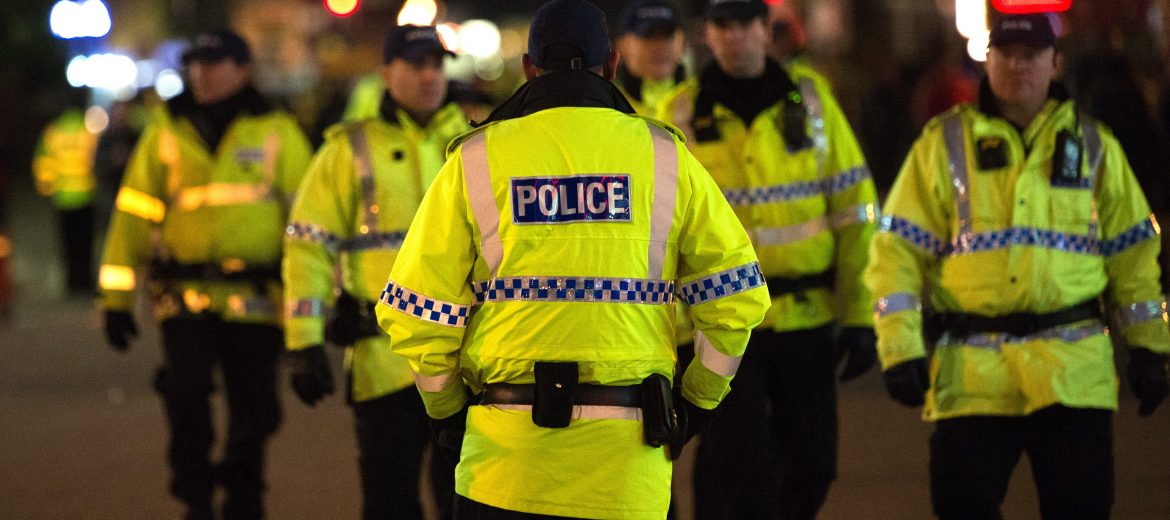 epa05982569 (FILE) - Police on patrol at Old Trafford in Manchester, Britain, 24 November 2016 (reissued 23 May 2017). According to a statement released by the Greater Manchester Police on 23 May 2017, police responded to reports of an explosion at Manchester Arena on 22 May 2017 evening. At least 19 people have been confirmed dead and others 50 were injured, authorities said. The happening is currently treated as a terrorist incident until police know otherwise. According to reports quoting witnesses, a mass evacuation was prompted after explosions were heard at the end of US singer Ariana Grande's concert in the arena.  EPA/PETER POWELL