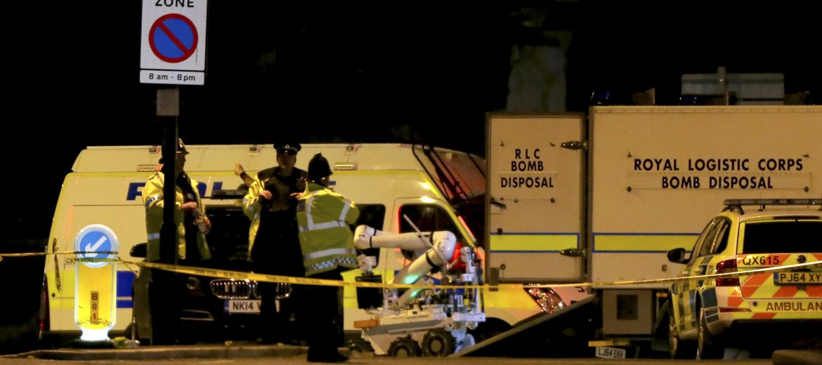 epa05982615 A Royal Logistic Corps (RLC) bomb disposal robot is unloaded outside the Manchester Arena following reports of an explosion, in Manchester, Britain, 23 May 2017. According to a statement released by the Greater Manchester Police on 23 May 2017, police responded to reports of an explosion at Manchester Arena on 22 May 2017 evening. At least 19 people have been confirmed dead and others 50 were injured, authorities said. The happening is currently treated as a terrorist incident until police know otherwise. According to reports quoting witnesses, a mass evacuation was prompted after explosions were heard at the end of US singer Ariana Grande's concert in the arena.  EPA/NIGEL RODDIS
