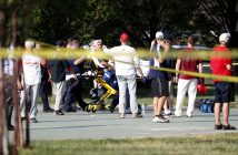 epa06027936 A person is loaded on a stretcher as members of the Republican congressional baseball team look on  following a shooting in Alexandria, Virginia, USA, 14 June 2017. The Republican House majority whip Steve Scalise and at least four others have been shot shot at a congressional baseball game practice session, according to media reports.  EPA/SHAWN THEW