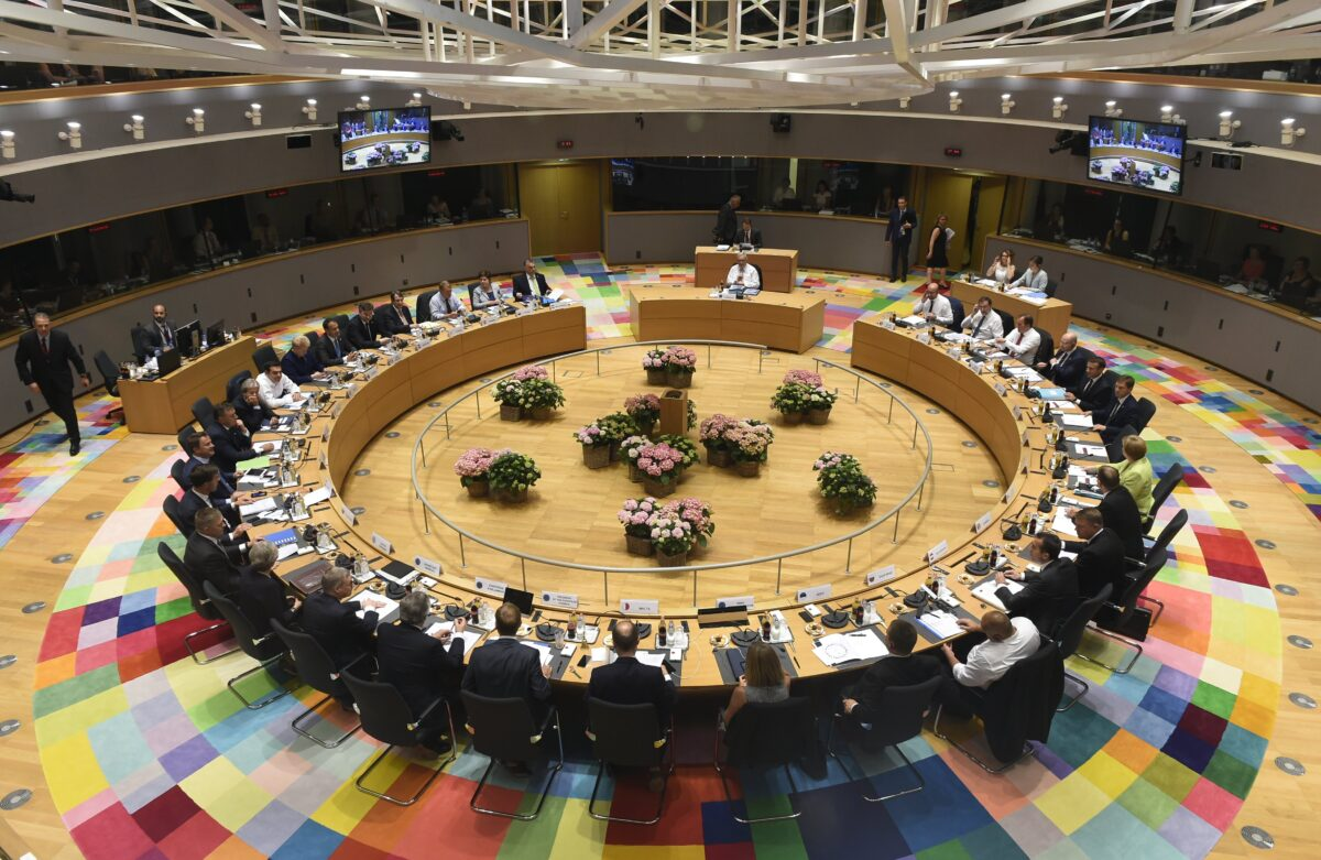 epa06043425 General view of the European Council meeting in Brussels, Belgium, 22 June 2017. European heads of states and governments gather for a two-days European Council meeting on 22 and 23 June which will mainly 'focus on the ongoing efforts to strengthen the European Union and protect its citizens through the work on counterterrorism, security and defence, external borders, illegal migration and economic development', the European Councils said in a press release. EPA/JOHN THYS / POOL