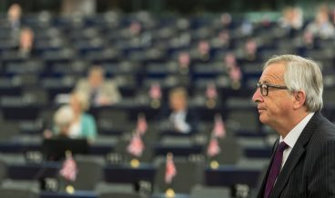 epa06064661 President of the European Commission Jean-Claude Juncker delivers his speech at the European Parliament in Strasbourg, France, 04 July 2017. Junker said, it was 'ridiculous' to speak before an almost empty plenum. There was a verbal battle with Antonio Tajani, President of the European Parliament.  EPA/PATRICK SEEGER